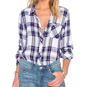 Rails Hunter White Navy Orchid Button Down Shirt S